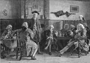Georgian era men sitting around drinking